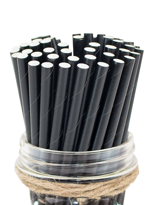 "6"" Black Cocktail Paper Straw ​6mm"