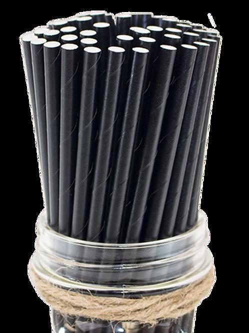 "8"" Black Cocktail Paper Straw 6mm"