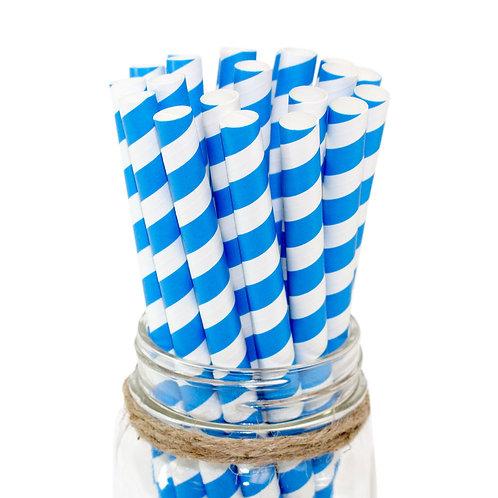 """8"""" Blue/White Milkshake Paper Straw 10mm"""