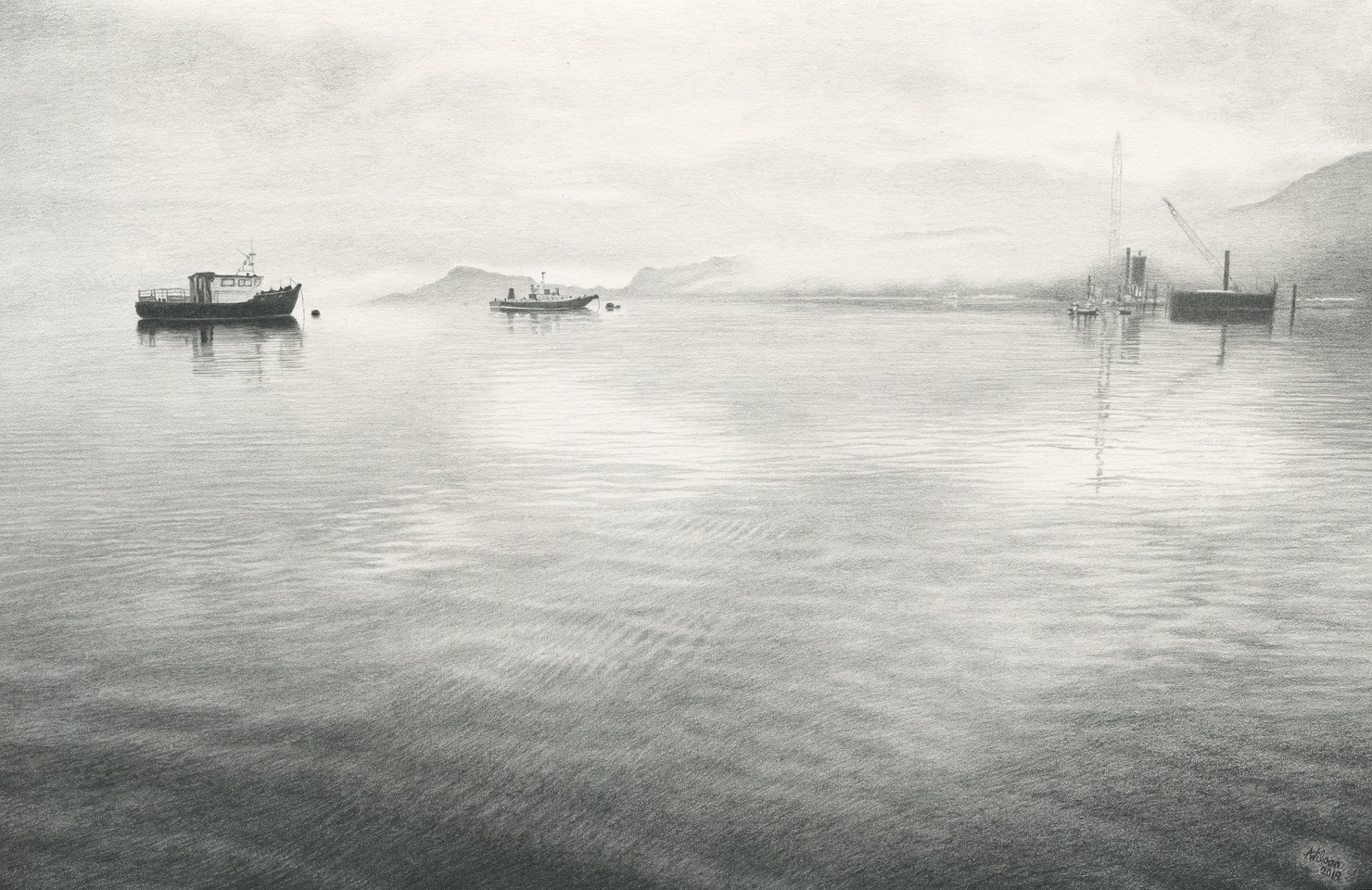 Boats in the Mist- Inverie Bay
