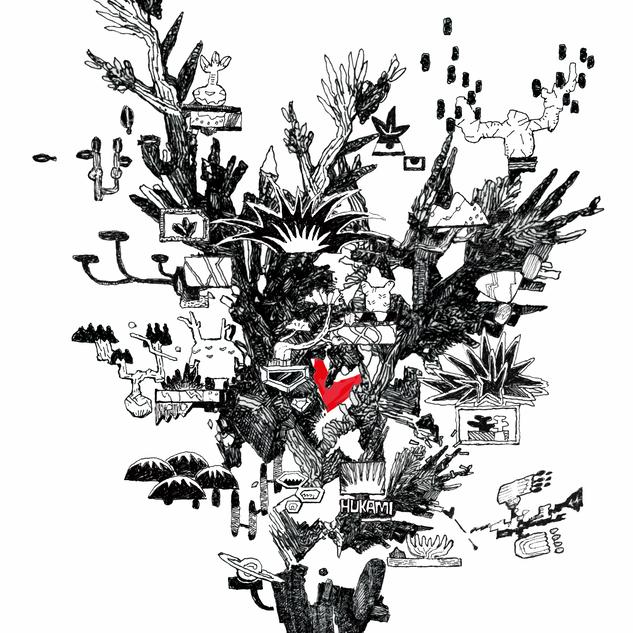 HUKAMIとiori productsとのコラボワークシャツのイラストを担当しました。世界観の一部でもある塊根植物の雰囲気をミックス。