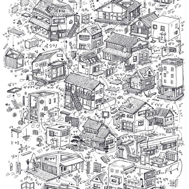 建築家の辻琢磨氏の建築企画事務所 tsujitakuma office and project のWebイラスト 全体