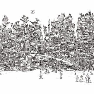 エディター&ライターの杉田真理子さんが手がける世界各地の都市・建築・まちづくりに関する情報や物語を集めるプロジェクト「Traveling Circus Of Urbanism」(https://www.travelingcircusofurbanism.com/)のビジュアルイラスト