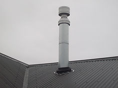 Chimney flue and roof flashings