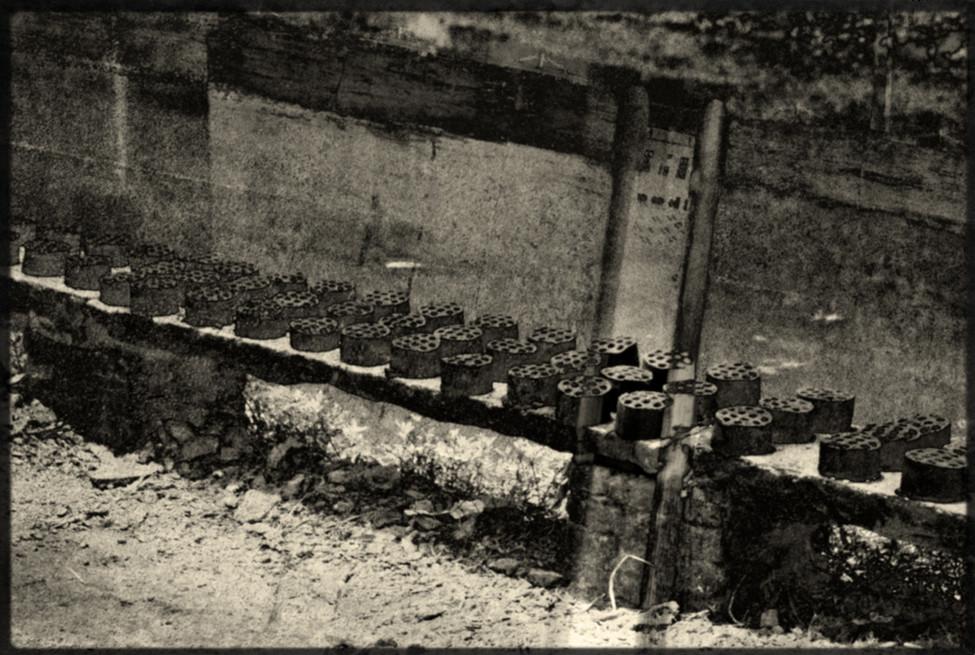 Hibachi charcoals on Bench