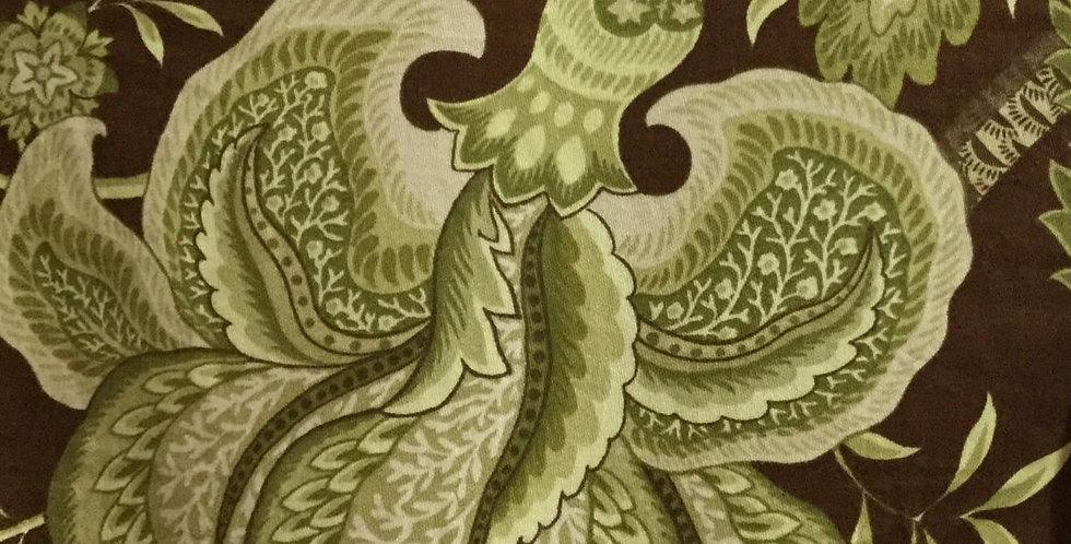 Vibrant Green - Brown Fabric
