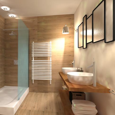 """3D d'une salle de bain esprit """"minéral"""""""