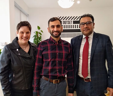 Jess Standing, Standing Space with owners of The Outset, Warrington - after completing interior design project
