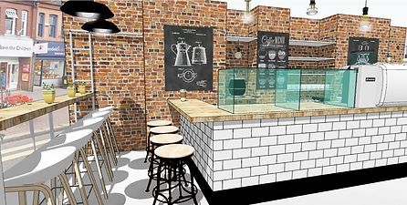 3d concept visual of cafe in warrington by interior designers Standing Space