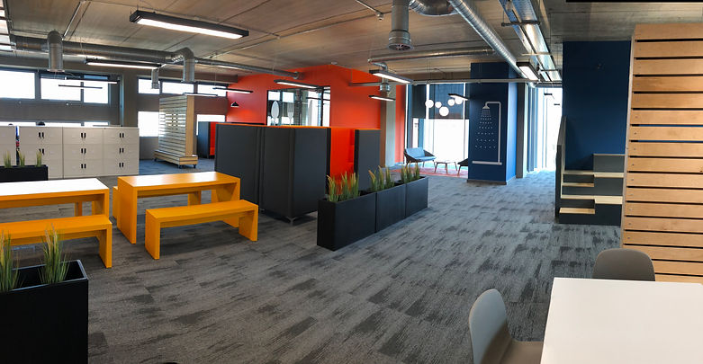 Breakout area at Digital Bridge corporate offices after interior design & fit out by Standing Space Warrington