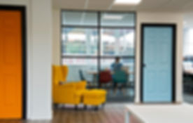 Interior design of corporate office waitng area and personal office - yellow pop colour theme