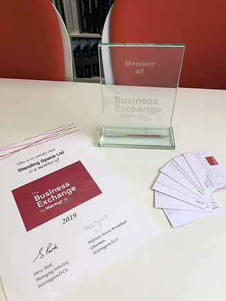 Member of The Business Exchange, Warrington - Standing Space's membership plaque