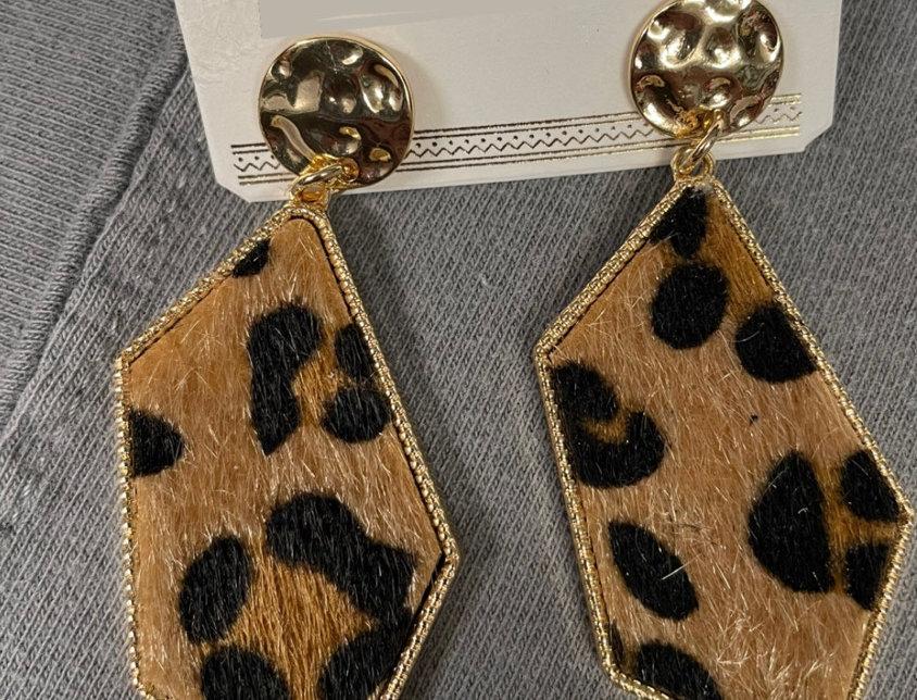 Cow Hide Cheetah Earrings
