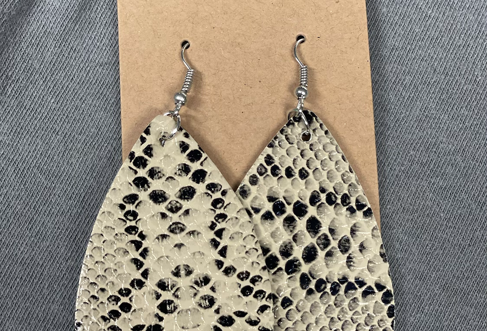 Python Faux Leather Earrings