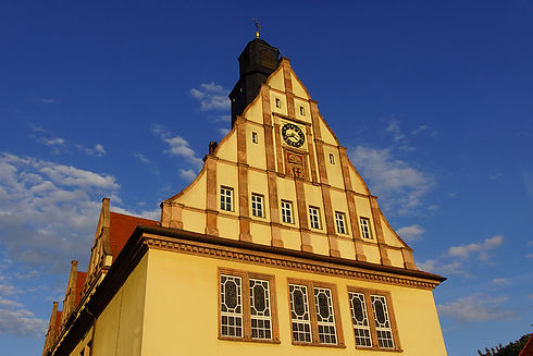 Blick vom Rathausplatz auf das Rathaus-Carré in Schkeuditz