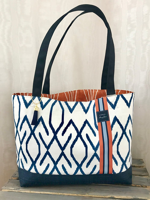 Geo Blue Beach & Pool tote (small)