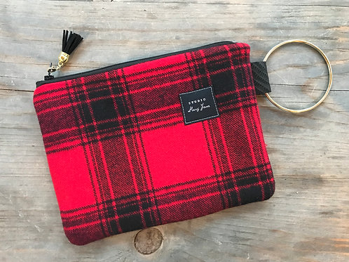 Small Ring Clutch - Red Rustic Plaid