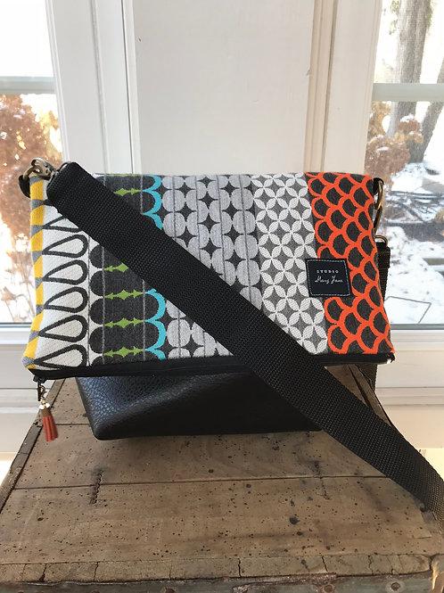 The Cross-Body Fold Over Bag -Multi Bright
