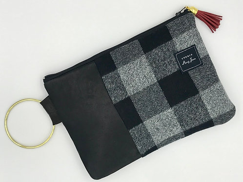Medium Ring Clutch - Black Buffalo Check