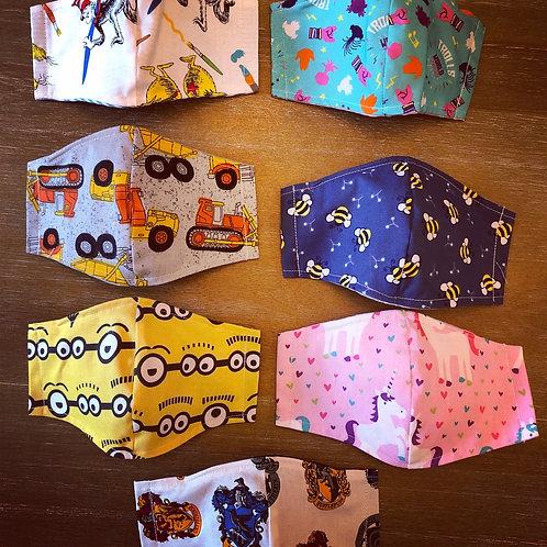 Kids character reversible fabric masks