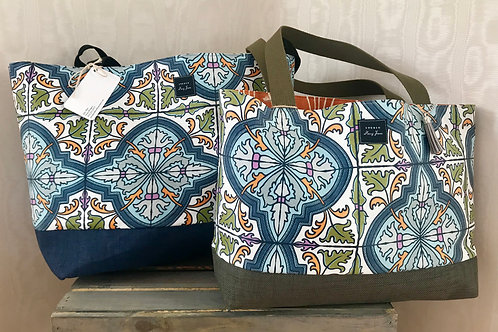 Blue tile beach & pool tote (large)