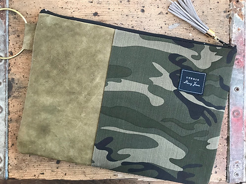 Large camo and leather clutch
