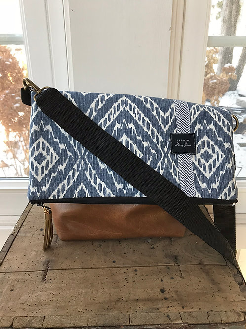 The Cross-Body Fold Over Bag - Blue Ikat