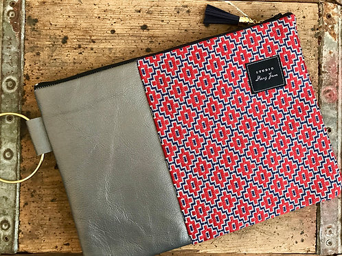 Red & Silver Large Clutch