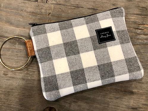 Gray check clutch