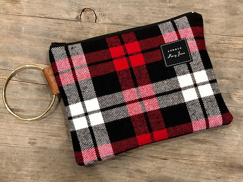 Black check plaid clutch