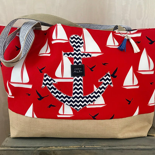 Anchors Away Red Beach & Pool tote (large)