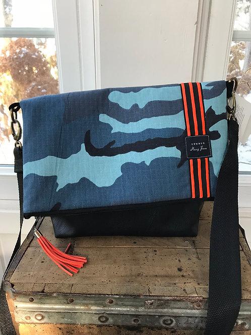 The Cross-Body Fold Over Bag - Blue Camo