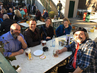 Last schnitzel in the Prader with Jamie, Cleve, Kathleen, Mellissa A. and David 2018 Healthcare Clowning International Meeting, Vienna, Austria