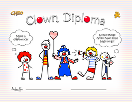 Clown diploma given to the kids when the