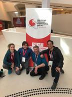 Melissa Aston, Darion, Paul Hooson, and Calvin 2018 Healthcare Clowning International Meeting, Vienna, Austria