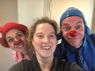Melissa Aston with 2 clowns she shadowed while attending the 2018 Healthcare Clowning International Meeting, Vienna, Austria