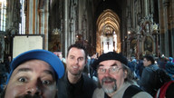 Canadians on tour.  Jamie, Cleve and Paul 2018 Healthcare Clowning International Meeting, Vienna, Austria