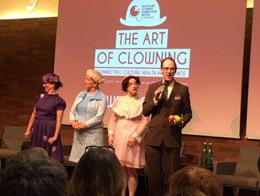 Our Vienna hosts, lovely ladies and MC 2018 Healthcare Clowning International Meeting, Vienna, Austria
