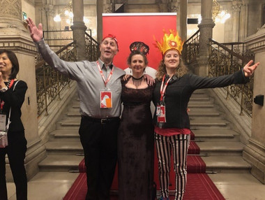 Paul Hooson, Kathleen Le Roux and Melissa Aston at the Gala 2018 Healthcare Clowning International Meeting, Vienna, Austria