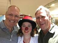 André Poulie (Theodora), Cosmo, and Paul,  B.C. Children's Hospital, 2018