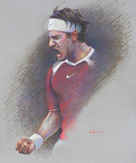 This piece catures the emotion of Federer after winning match point.