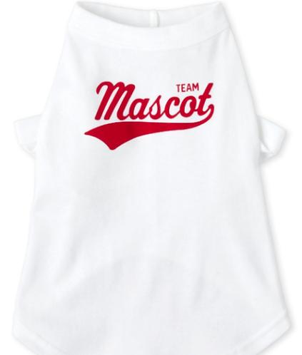 TEAM MASCOT Dog Shirt - White & Red - Sports Watching Pup