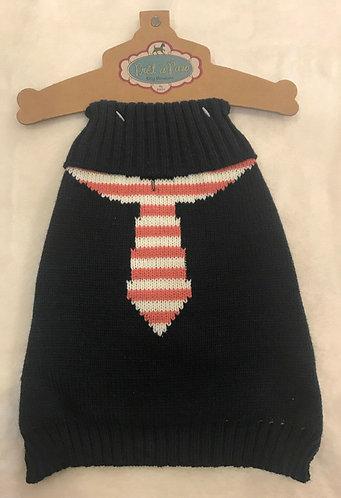 Preppy Tie Dog Sweater - Navy/Salmon - Pret a Paw