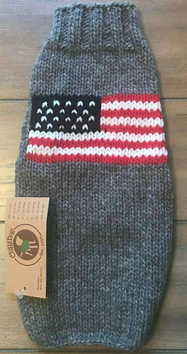 Chilly Dog USA Flag Dog Sweater - Hand Knit Wool