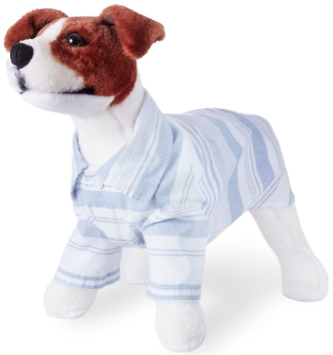 Blue & White Striped Button-Down Dog Shirt