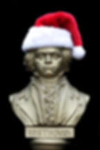 Beethoven bust in a Santa hat