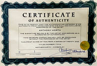 Anthony Horth certificate of authenticity