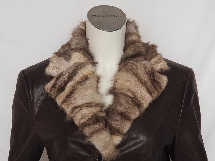 Dámský jarní kožený kabát + límec POLÁRNÍ LIŠKA (nožičky)