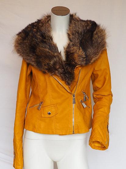 Dámská kožená bunda + límec MÝVAL