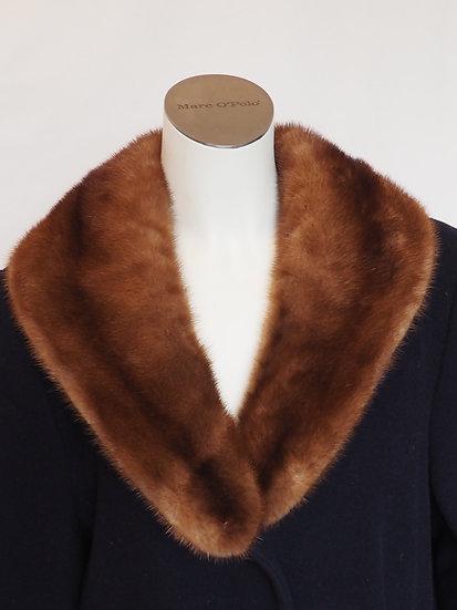 Dámský flaušový kabát + límec NOREK